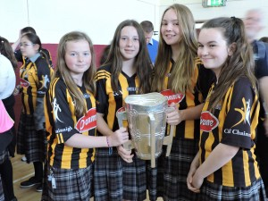 2nd Year girls with the liam McCarthy Cup