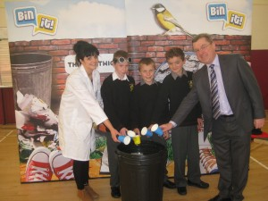 First Year students with principal liam o brien enjoying the bin it campaign
