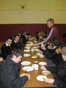 2nd Year students enjoying the Cheerio's Childline Breakfast morning