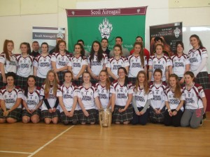 Scoil Aireagail Camogie Players with the Kilkenny hurlers